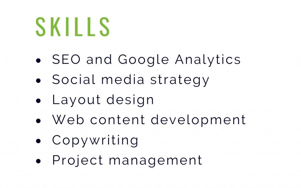 resume, skills