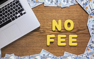"Laptop with the words ""no fee"""